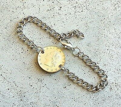 ITALY VINTAGE LEAF TREE FOREIGN COIN SILVER GOLD JEWELRY BRACELET CHARM GIFT UA