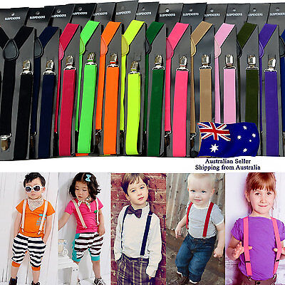 Children Kids Adjustable Elastic Suspenders Clip On Unisex Braces Boys Girls