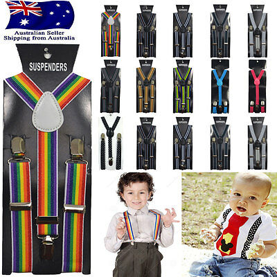 Children Kids Pattern Adjustable Elastic Suspenders Unisex Braces Boys Girls