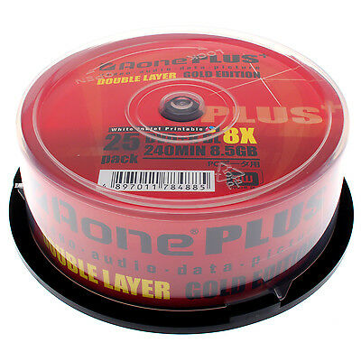 Aone DVD+R DL 8x Plus Full Face Inkjet Printable - 8.5GB - 25 Pack Gold Edition