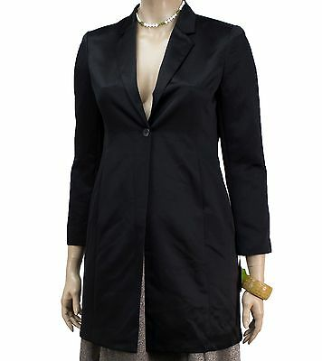 NEW Style&co Ladies Black Jacquard Satin Knee-Length Single Button Coat Size 12
