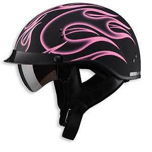 Flat Black Pink Flame Motorcycle Half Helmet Retractable Visor Dot Xs Sm Md Lg