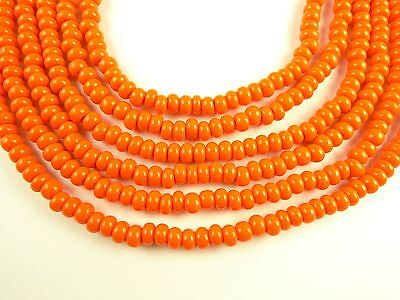 """26"""" handsome orange Czech glass seed trade beads components African scarce"""