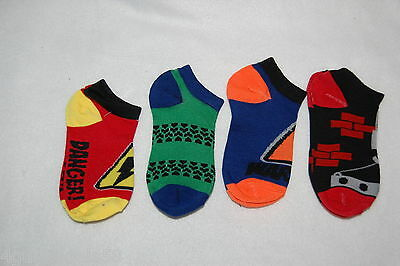 Boys Ankle Socks FOUR PAIR LOT Fits 7-3 Shoe Size DANGER Caution CONSTRUCTION