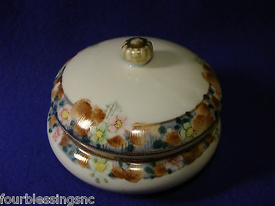 ANTIQUE NIPPON LIDDED TRINKET BOX-FOOTED-MORIAGE/CLOISONNE-JEWELRY/DRESSER BOX