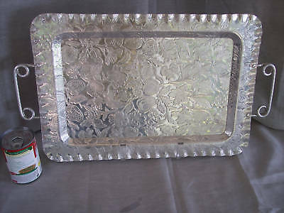 Hand Finished Aluminum Tray  with handles Fruit & Flowers Decoration Collectible