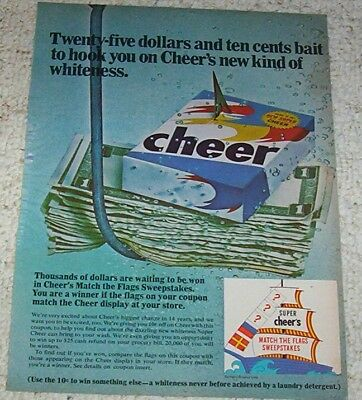 1967 vintage ad - CHEER laundry soap detergent sweepstakes OLD ADVERT