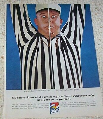 1962 ad page - CHEER laundry soap detergent Referee man VIntage PRINT ADVERT
