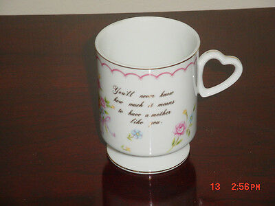 VINTAGE LEFTON CHINA MUG WITH VERSE FOR MOTHER HEART HANDLE #04603