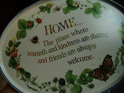 MARJOLEIN BASTIN WALL PLAQUE HOME WITH BUTTERFLIES STRAWBERRIES BEE