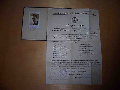 RUSSIA  1930  USSR Top manager ID ! Unusual Russian document  with Real photo.