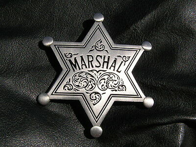 MARSHAL STAR BADGE - HIGH QUALITY Silver Plated - Marshall of the Old West
