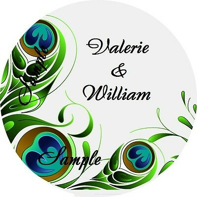 120 Personalized Green Peacock Swirl Wedding Round Stickers Envelope Seals
