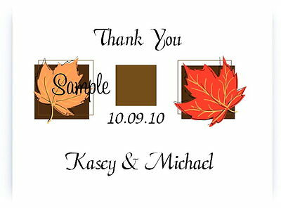 100 Personalized Custom Autumn Fall Leaves IVORY Bridal Wedding Thank You Cards