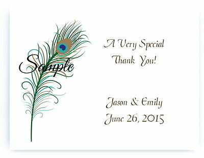 100 Personalized Custom Green Peacock Wedding Bridal Thank You Cards