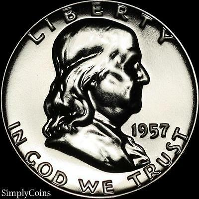 1957 Franklin Half Dollar ~ GEM Proof Uncirculated ~ 90% Silver US Coin
