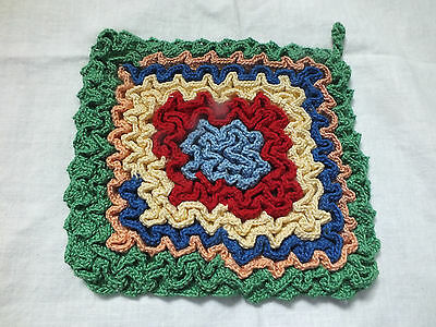 Collectible Handmade Crocheted Pot Holder Ruffle Design Multi Colors CUTE