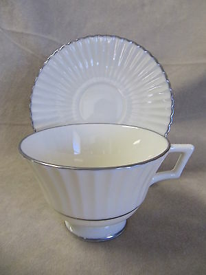 LENOX  CHINA COLONNADE PLATINUM FOOTED CUP AND SAUCER SET IN EXCELLENT CONDITION
