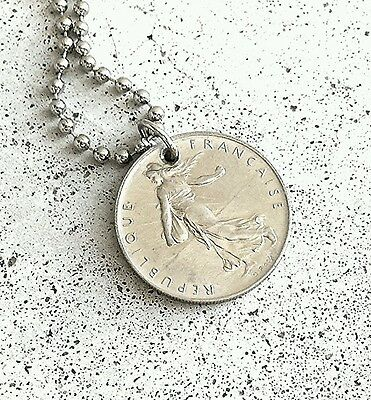 VINTAGE FRENCH 1 FRANC FOREIGN COIN JEWELRY DOGTAG BALL NECKLACE SILVER CHARM