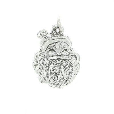 Sterling Silver Santa Claus Face Ornament Charm Or Pendant