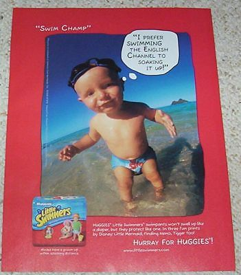 2005 ad page - Huggies Little Swimmers Diapers CUTE swim baby diaper PRINT AD