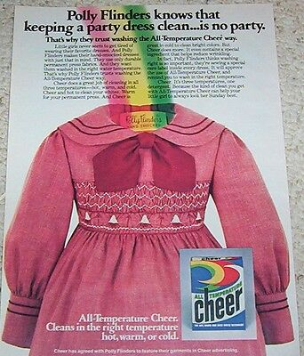 1980 vintage ad - CHEER Laundry soap detergent Polly Flinders 1pg AD
