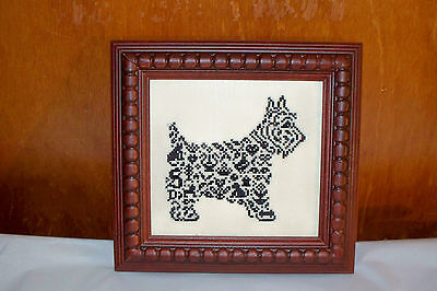 Jbw Designs Completed Cross Stitch Picture Scottie Dog East Side Mouldings Frame