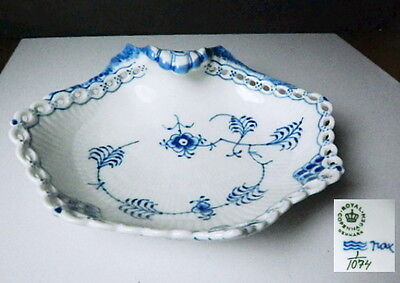 Royal Copenhagen BLUE FLUTED FULL LACE 1074 Pickle Dish, 1st Quality, Mint