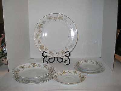 """LOT OF 6 FINE VINTAGE JAPAN CHINA DISHES -NORITAKE, """"BRIERLY"""" BROWN & GRAY LEAF"""