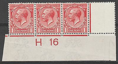 Great Britain 1913 Kgv 1D Plate Strip H16 Wmk Simple Cypher