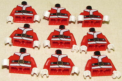 LEGO LOT OF 9 NEW RED AND WHITE SANTA CLAUS MINIFIGURE TORSOS PIECES