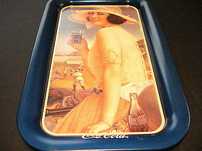 COCA-COLA NEW 1991 PINK CALENDAR GIRL (FRENCH CANADIAN) METAL TRAY