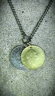 VINTAGE ITALY ITALIAN FOREIGN COIN JEWELRY NECKLACE SILVER GOLD CHARM PENDANT F