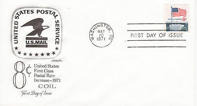 1971 REGULAR ISSUE 8 CENT FLAG COIL FLAG OVER THE WHITE HOUSE ARTMASTER UNAD FDC