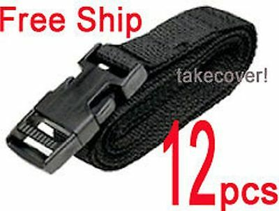 "12x BOAT COVER TIE DOWN STRAP KIT 1"" x 12' buckles FM"