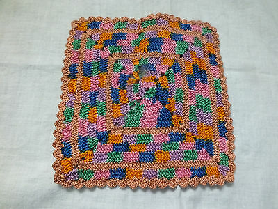 Collectible Handmade Crocheted Pot Holder Multi Colored 6 Inch CUTE