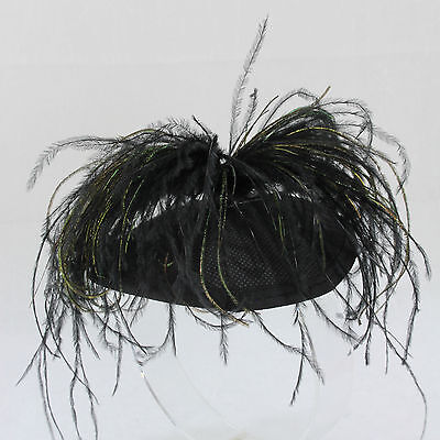 Dramatic peacock plume feather fascinator clip on mini hat topper black derby