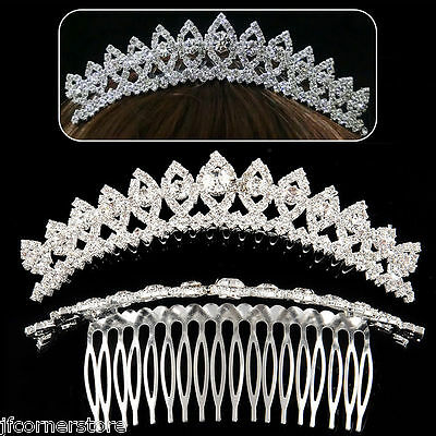 Beautiful Crystal/Rhinestone Diamante  Crystal Tiara/Comb- Brand New