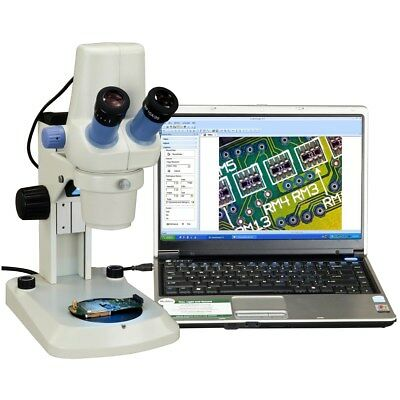 OMAX Built-in 1.3MP Digital Stereo Zoom Microscope 7X-30X with Dual LED Lights