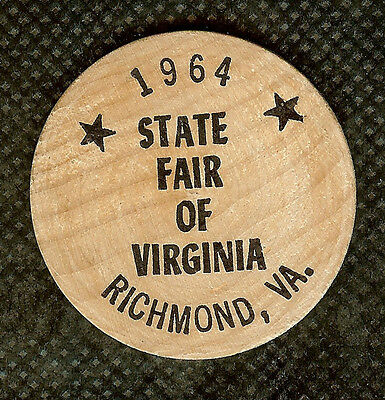 Vintage Wooden Nickel 1964 State Fair Of Virginia Held In Richmond