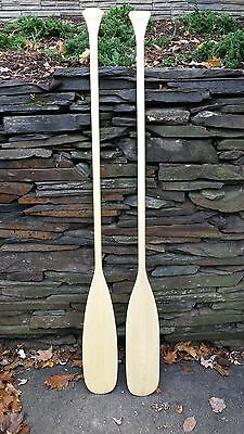 """NEW Set Pair of Paddles Oars 63"""" Long Boat SPRUCE Wooden Canoe ROUND BLADE"""