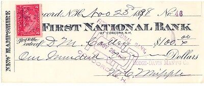 1898 Check, FIRST NATIONAL BANK of Concord, New Hampshire