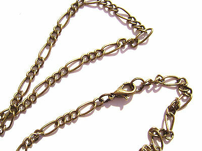 "Chain Necklace Figaro Handmade Antiqued Brass ALL SIZES 16"" to 50"" - 5 or 1 Qty"