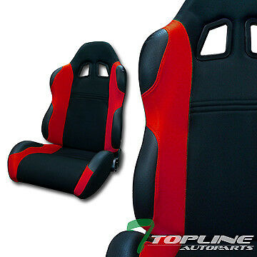 Ts Sport Blk/red Cloth Fabric Car Reclinable Racing Bucket Seats+Sliders L+R T12