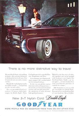 1958 GOODYEAR red Lincoln Continental Mark III couple double eagle tire print ad