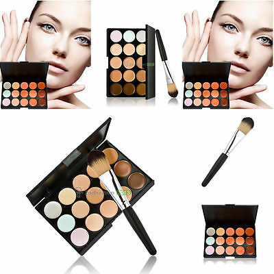 Waterproof 15 Colors Contour Face Cream Makeup Concealer Palette + Brush Set