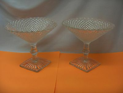 "2 Vintage Anchor Hocking Miss America Clear Glass  5"" Compotes Square Base"