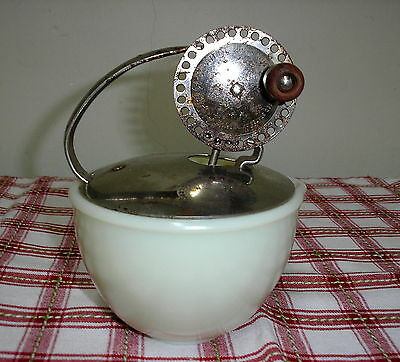 MCKEE CUSTARD GLASS CHILD'S EGG BEATER BOWL*ANDROCK BEATER w SHIELD