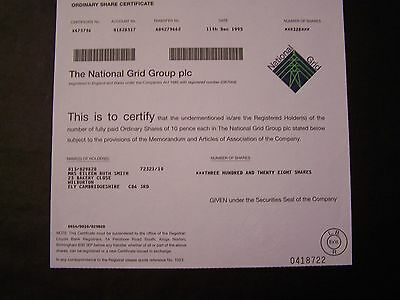 NATIONAL GRID DATED 1995  328 SHARES INVALID SHARE  CERTIFICATE