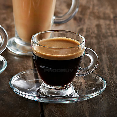 High Quality Ravenhead Entertain Glass Espresso Coffee Cup Shot & Saucer Set